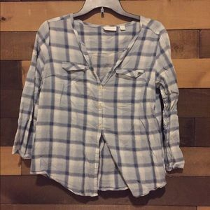 New York & Company plaid blouse